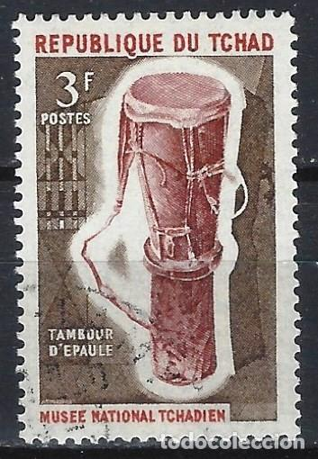 CHAD 1965 - INSTRUMENTOS MUSICALES TRADICIONALES, TAMBOR PÓRTATIL - USADO (Sellos - Extranjero - África - Chad)