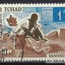 Timbres: CHAD 1970 - ARTESANÍA, OFICIOS TRADICIONALES, CURTIDOR - USADO. Lote 215150627