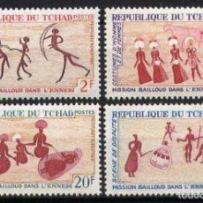 Sellos: TCHAD 1968 - PINTURAS RUPESTRES - YVERT Nº 161/164**. Lote 221951118