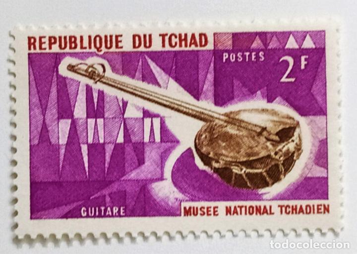 SELLO DE CHAD 2 F. - 1965 - GUITARRA - NUEVO SIN SEÑAL DE FIJASELLOS (Sellos - Extranjero - África - Chad)