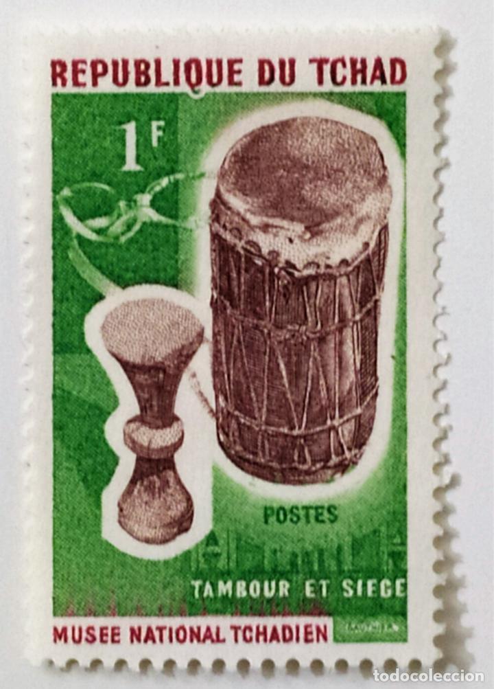 SELLO DE CHAD 1 F. - 1965 - TAMBOR DRUM - NUEVO SIN SEÑAL DE FIJASELLOS (Sellos - Extranjero - África - Chad)