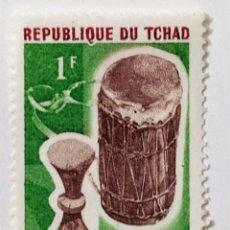 Sellos: SELLO DE CHAD 1 F. - 1965 - TAMBOR DRUM - NUEVO SIN SEÑAL DE FIJASELLOS. Lote 237855485
