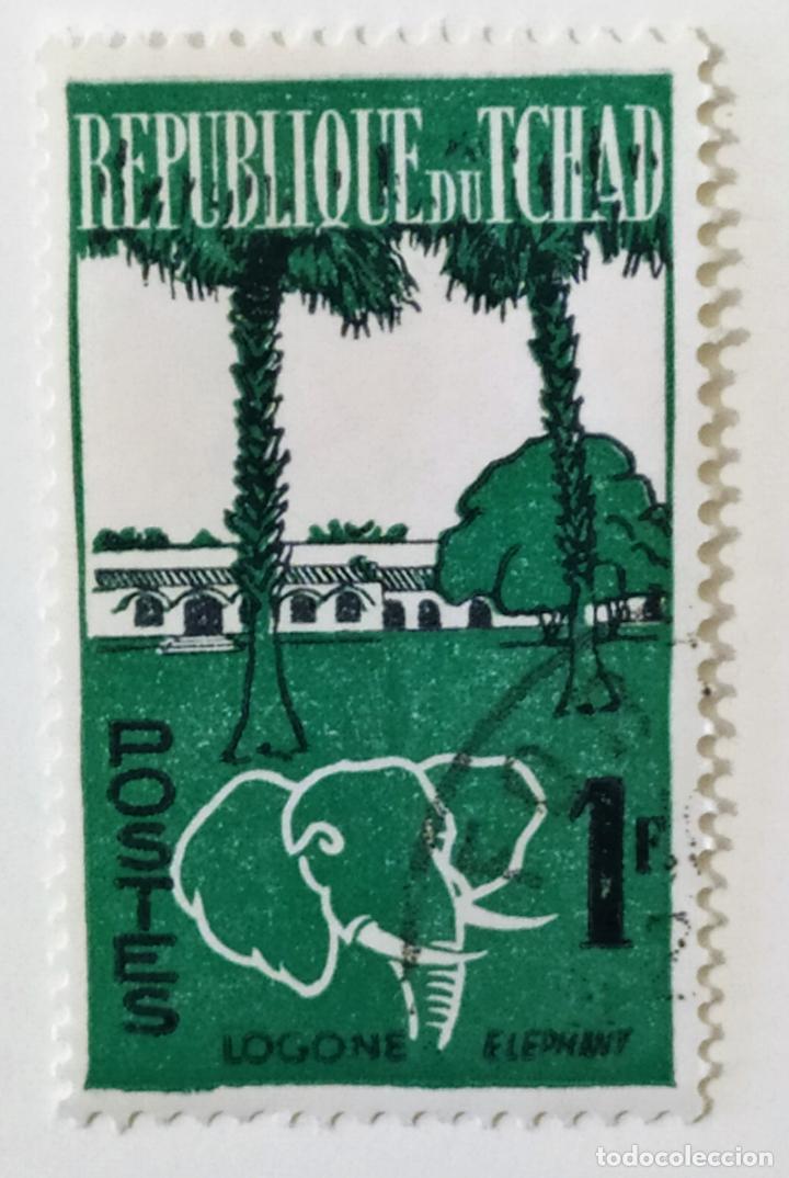 SELLO DE CHAD 1 F - 1962 - ELEFANTE - USADO SIN SEÑAL DE FIJASELLOS (Sellos - Extranjero - África - Chad)