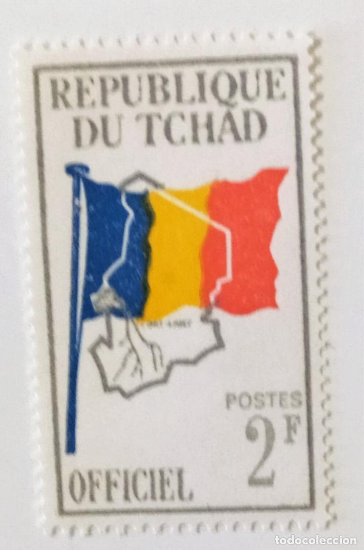 SELLO DE CHAD 2 F - 1966 - BANDERA Y MAPA - NUEVO SIN SEÑAL DE FIJASELLOS (Sellos - Extranjero - África - Chad)