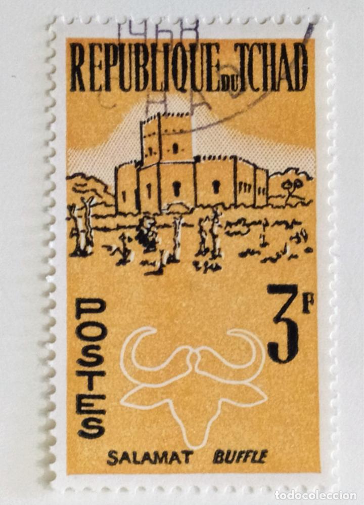 SELLO DE CHAD 3 F. - 1962 - BUFALO - USADO SIN SEÑAL DE FIJASELLOS (Sellos - Extranjero - África - Chad)