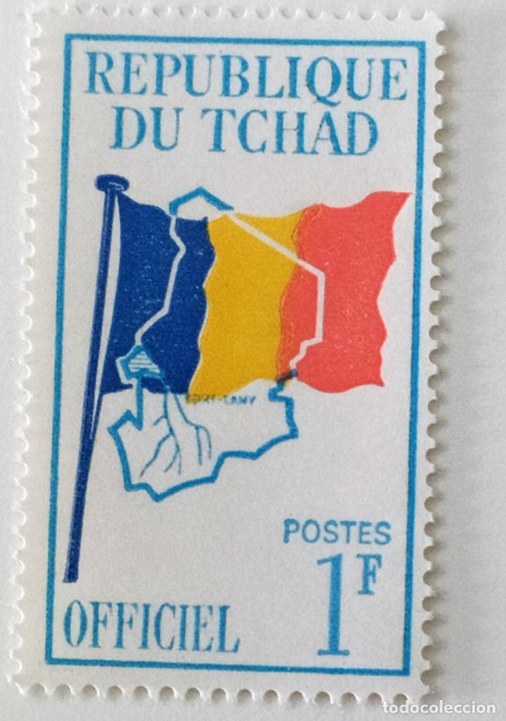 SELLO DE CHAD 1 F - 1966 - BANDERA Y MAPA - NUEVO SIN SEÑAL DE FIJASELLOS (Sellos - Extranjero - África - Chad)
