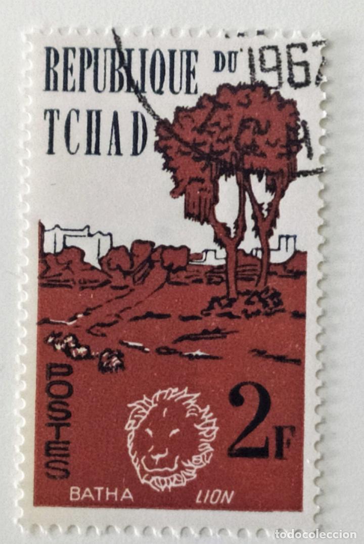 SELLO DE CHAD 2 F - 1962 - LEON - USADO SIN SEÑAL DE FIJASELLOS (Sellos - Extranjero - África - Chad)