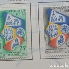 Sellos: O) 1968 CHAD, OMS, BIEN, MÉDICOS, MADRE E HIJO, MAP, SCT 152-153 XF. Lote 262494115