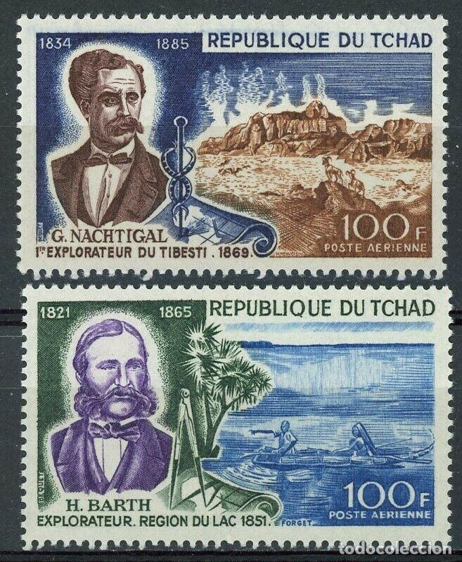TCHAD 1969 AÉREO IVERT 53/4 ** EXPLORADORES FAMOSOS - H. BARTH Y G. NACHTIGAL (Sellos - Extranjero - África - Chad)