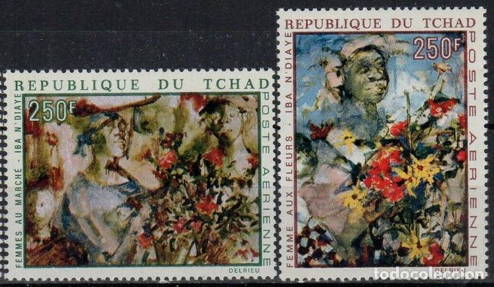 TCHAD 1970 AÉREO IVERT 73/4 *** ARTE - CUADROS DE IBA N'DIAYE - PINTURA (Sellos - Extranjero - África - Chad)