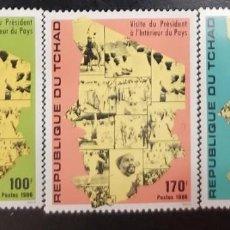 Sellos: O) 1986 CHAD, HISSENE HABRE, VISITA DEL PRESIDENTE AL INTERIOR DE LA NACION, SCT 571-573, NUEVO. Lote 276383933