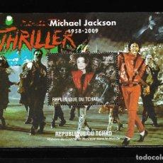 "Sellos: TCHAD 2009, HOJA BLOQUE MICHAEL JAKSON "" HISTORIA DEL CINEMA "" MNH.. Lote 288001098"
