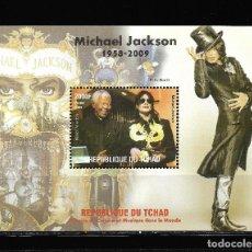 "Sellos: TCHAD 2009, HOJA BLOQUE MICHAEL JAKSON "" HISTORIA DEL CINEMA "" MNH.. Lote 288003118"