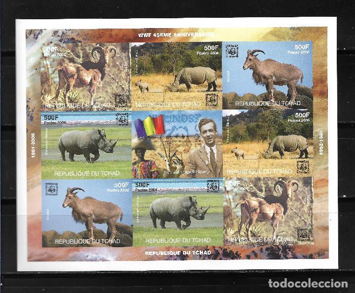 "TCHAD 2006, HOJA BLOQUE SIN DENTAR 45 ANIVERSARIO WWF "" FAUNA "" MNH. (Sellos - Extranjero - África - Chad)"