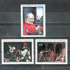 Sellos: CONGO A 64/6 SIN CHARNELA, PINTURA DE GHIRLANDAJO, J.L. DAVID, F. BAZILLE . Lote 25799352