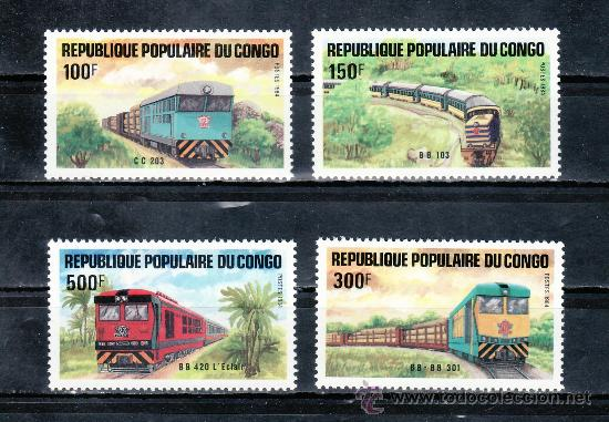 CONGO 726/9 SIN CHARNELA, FF.CC., LOCOMOTORAS, DESARROLLO DE LAS COMUNICACIONES (Sellos - Extranjero - África - Congo)