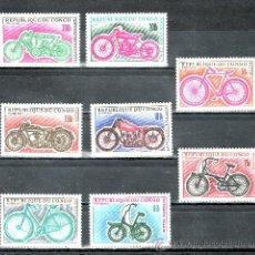 Sellos: CONGO 229/36 SIN CHARNELA, BICICLETA Y MOTOCICLETA. Lote 25817863