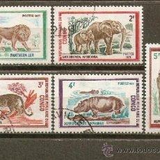 Sellos: REPUBLICA POPULAR DEL CONGO YVERT NUM. 318/22 USADOS ANIMALES SALVAJES. Lote 38597451