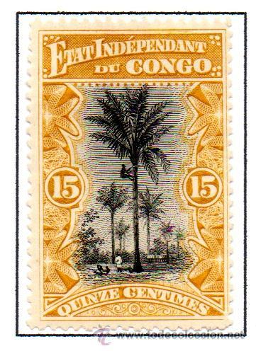 CONGO BELGA. SELLO DEL AÑO 1896. EN NUEVO CON SEÑAL DE FIJASELLOS (Sellos - Extranjero - África - Congo)
