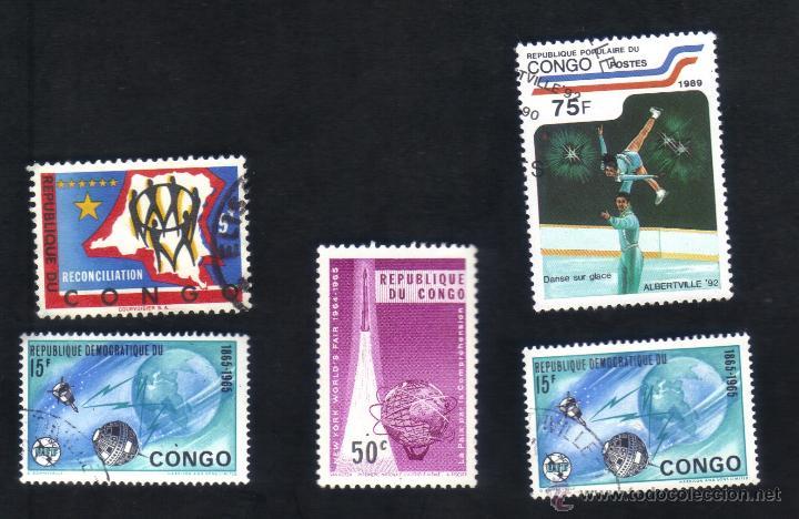 LOTE 5 SELLOS USADOS, DIFERENTES, CONGO. (Sellos - Extranjero - África - Congo)