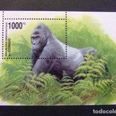 Timbres: CONGO 2002 WWF GORILA DE MONTAÑA PROTECCIÓN DE LA FAUNA YVERT BLOC 69 ** MNH. Lote 143598868