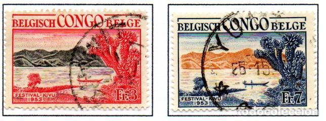 CONGO BELGA.- SELLOS DE 1953, EN USADOS. (Sellos - Extranjero - África - Congo)
