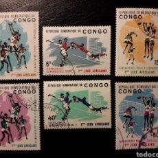 Sellos: REPUBLICA DEL CONGO (EX CONGO BELGA). YVERT 580/5. SERIE COMPLETA USADA. DEPORTES. BALONCESTO FÚTBOL. Lote 130140659