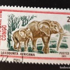 Sellos: REPUBLICA DEL CONGO - WILDLIFE - LOXODONTA AFRICANA - 2 FR - 1972. Lote 147502614