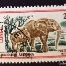 Sellos: REPUBLICA DEL CONGO - WILDLIFE - LOXODONTA AFRICANA - 2 FR - 1972. Lote 147502690