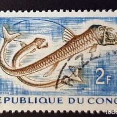 Sellos: REPUBLICA DEL CONGO - TROPICAL FISH - CHAULIODUS SLOANI.- 2 FR - 1961. Lote 147502982
