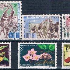 Sellos: CONGO, REPUBLICA BRAZZAVILLE 1966 / 70 - YVERT 190 / 92 + 193 + 269 + 270 + 271 ( USADOS ). Lote 155099478