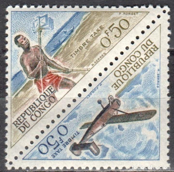 CONGO - UN SELLO - IVERT #T-34/T-35 -***CORREOS - CORREDOR Y AVION***- AÑO 1961 - NUEVO (Sellos - Extranjero - África - Congo)