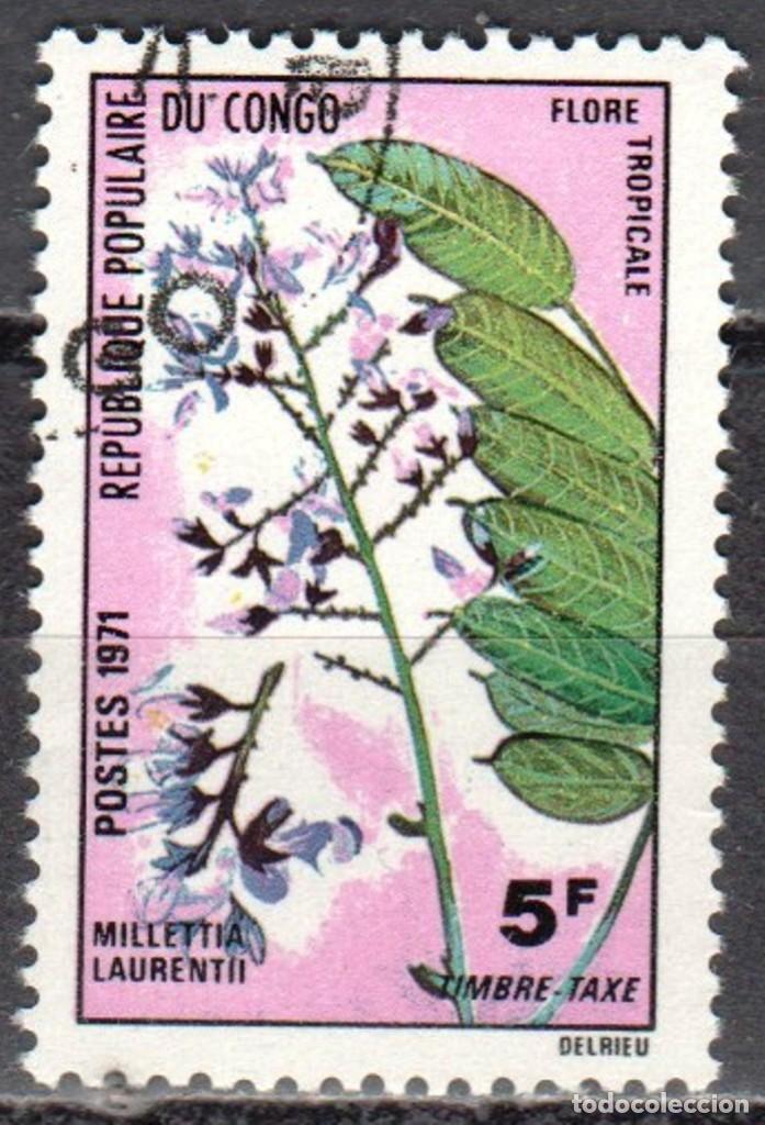 CONGO - UN SELLO - IVERT #T-48 -***FLORES TROPICALES***- AÑO 1971 - NUEVO CON GOMA MATASELLADO (Sellos - Extranjero - África - Congo)