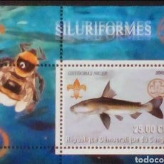 Sellos: PECES SILUROS HOJA BLOQUE DE SELLOS NUEVOS DE REPÚBLICA DEL CONGO. Lote 178719183