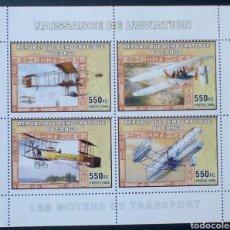 Sellos: AVIONES PIONEROS HOJA BLOQUE DE SELLOS NUEVOS DE REPÚBLICA DEL CONGO. Lote 178890486
