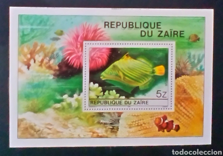 ZAIRE CONGO PECES HOJA BLOQUE DE SELLOS NUEVOS (Sellos - Extranjero - África - Congo)