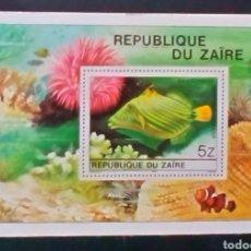 Sellos: ZAIRE CONGO PECES HOJA BLOQUE DE SELLOS NUEVOS. Lote 180167707