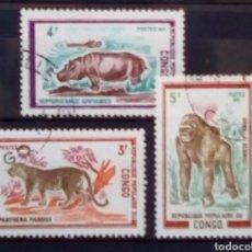 Sellos: CONGO FAUNA SERIE DE SELLOS USADOS. Lote 180405236