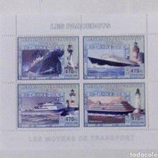 Sellos: CELEBRES CRUCEROOS HOJA BLOQUE DE SELLOS NUEVOS DE REPÚBLICA DEL CONGO. Lote 181186706