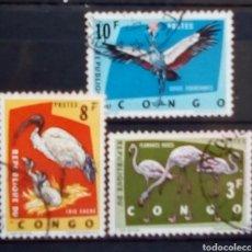 Sellos: CONGO AVES SERIE DE SELLOS USADOS. Lote 182626103