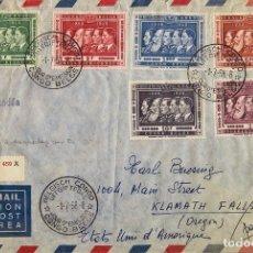 Sellos: CONGO BELGA. SOBRE YV 344/49. 1958. SERIE COMPLETA. CERTIFICADO DE BUKAVU A KLAMATH FALLS (USA). AL. Lote 183125062