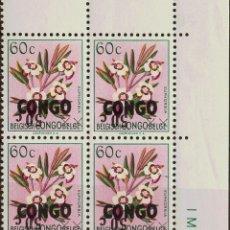 Sellos: CONGO (REPÚBLICA DEMOCRÁTICA). MNH **YV 386(4). 1960. 50 CTS SOBRE 60 CTS MULTICOLOR, BLOQUE DE CUA. Lote 183146057