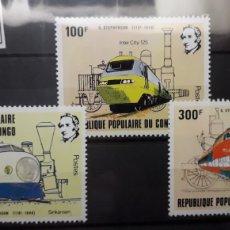 Sellos: SELLOS NUEVOS TRENES - REPUBLICA POPULAR DEL CONGO. Lote 183199396