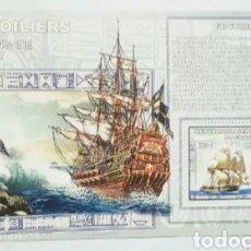 Sellos: NAVIOS VELEROS HOJA BLOQUE DE SELLOS NUEVOS DE REPÚBLICA DEL CONGO. Lote 184381857