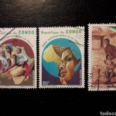 Sellos: CONGO. YVERT 998/1000 SERIE COMPLETA USADA. AÑO INTERNACIONAL DE LA FAMILIA. Lote 196325353