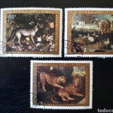 Sellos: CONGO. YVERT A-171/3 SERIE COMPLETA USADA. PINTURAS DE ANIMALES. JAN BRUEGEL. FAUNA. Lote 196332695