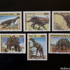 Sellos: CONGO. SIN CATALOGAR EN YVERT. SERIE COMPLETA USADA DE 6 VALORES FAUNA PREHISTÓRICA DINOSAURIOS 1999. Lote 196335267