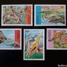 Sellos: CONGO. SIN CATALOGAR EN YVERT SERIE COMPLETA USADA DE 5 VALORES. FAUNA PREHISTÓRICA DINOSAURIOS 1993. Lote 196335411