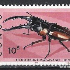 Sellos: REP. DEM. DEL CONGO 1971 - FAUNA, ESCARABAJO CIERVO - SELLO NUEVO **. Lote 206307587