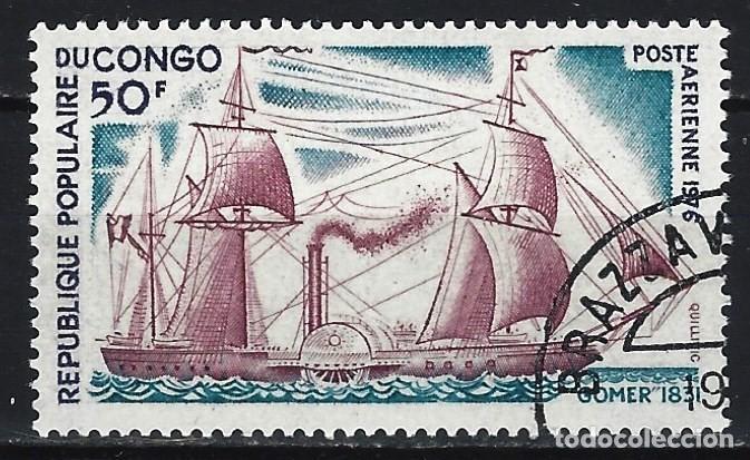 REP. DEL CONGO 1976 - BARCOS ANTIGUOS, AÉREO - SELLO USADO (Sellos - Extranjero - África - Congo)